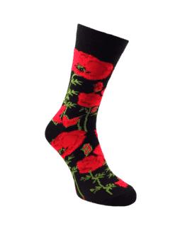 черен чорап мак червен