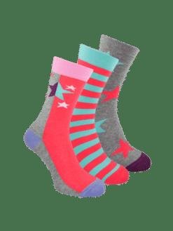 дамски 3 чифта чорапи циклама