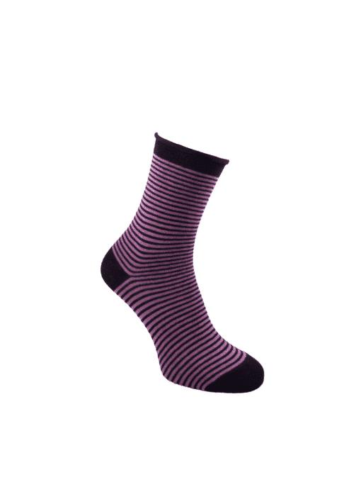 дамски чорапи без ластик рингел лила