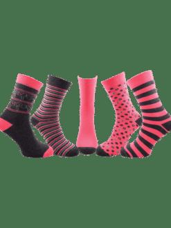 5 чифта дамски чорапи розови